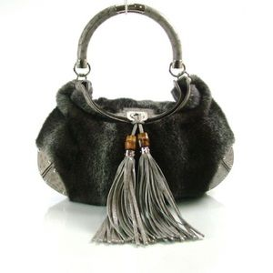 GUCCI MINK AND OSTRICH LARGE INDY HOBO BAG